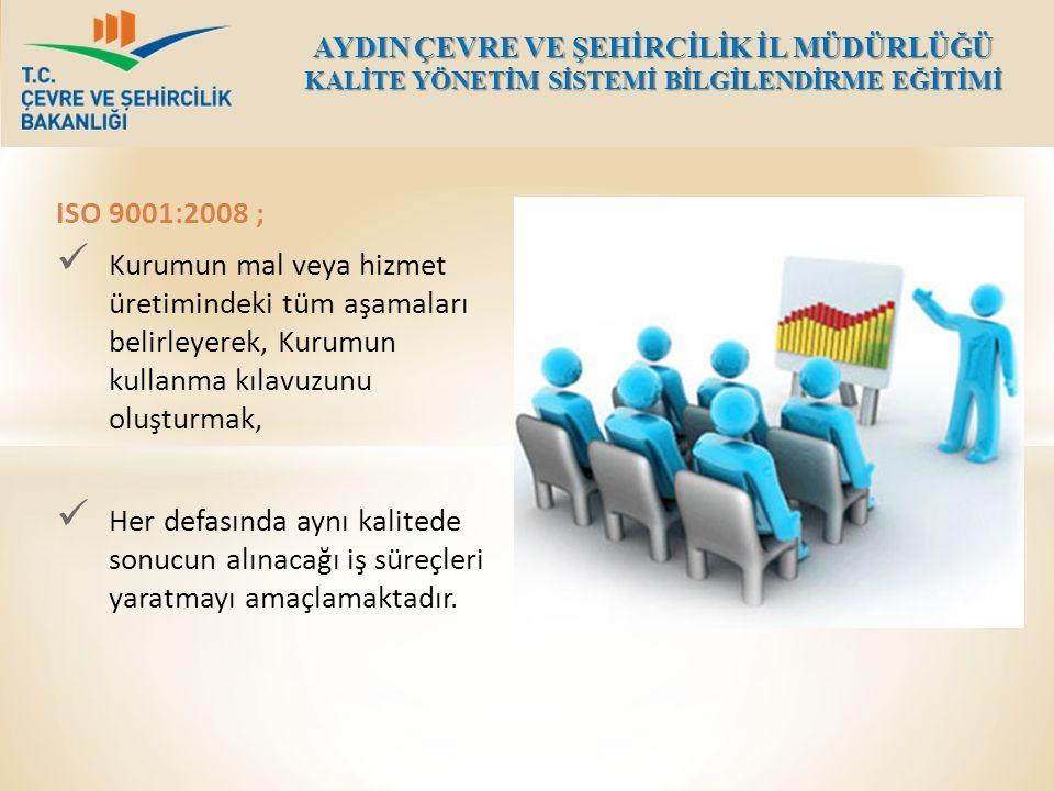 ISO 9001:2008 ; Kurumun mal veya hizmet üretimindeki tüm aşamaları belirleyerek, Kurumun kullanma kılavuzunu oluşturmak, Her defasında aynı kalitede s