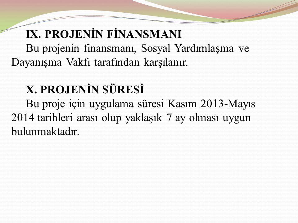 IX. PROJENİN FİNANSMANI Bu projenin finansmanı, Sosyal Yardımlaşma ve Dayanışma Vakfı tarafından karşılanır. X. PROJENİN SÜRESİ Bu proje için uygulama