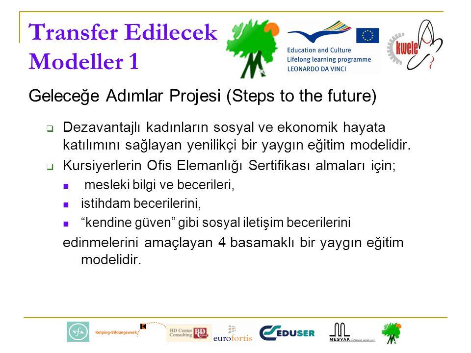 Transfer Edilecek Modeller 1 Geleceğe Adımlar Projesi (Steps to the future)  Dezavantajlı kadınların sosyal ve ekonomik hayata katılımını sağlayan yenilikçi bir yaygın eğitim modelidir.