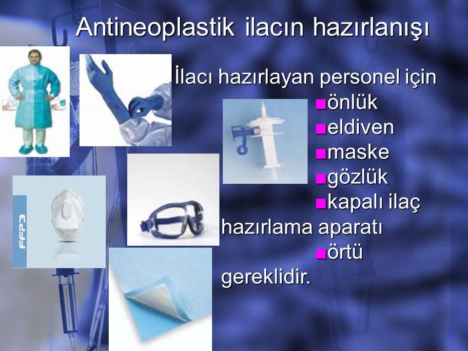 Antineoplastik ilacın hazırlanışı İlacı hazırlayan personel için ■önlük ■eldiven ■maske ■gözlük ■kapalı ilaç hazırlama aparatı ■örtü gereklidir.