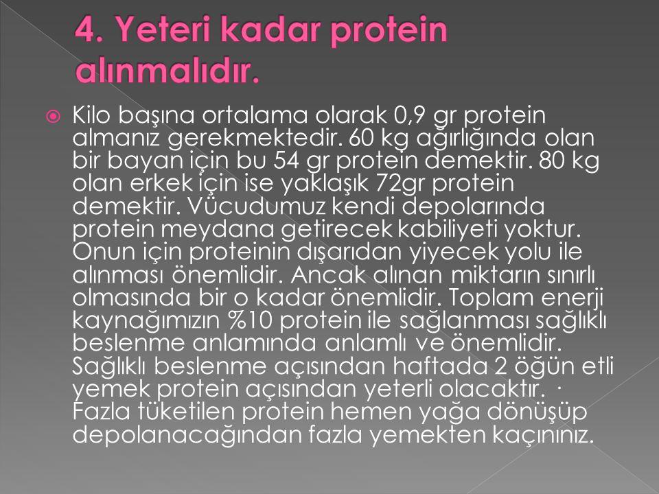  Kilo başına ortalama olarak 0,9 gr protein almanız gerekmektedir. 60 kg ağırlığında olan bir bayan için bu 54 gr protein demektir. 80 kg olan erkek