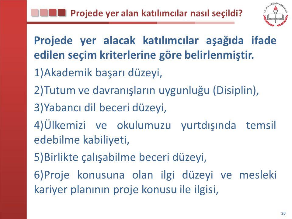 Projede yer alan katılımcılar nasıl seçildi? Projede yer alacak katılımcılar aşağıda ifade edilen seçim kriterlerine göre belirlenmiştir. 1)Akademik b