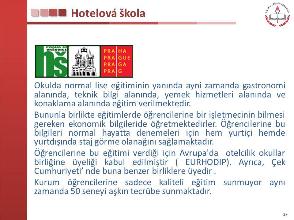 Hotelová škola Okulda normal lise eğitiminin yanında ayni zamanda gastronomi alanında, teknik bilgi alanında, yemek hizmetleri alanında ve konaklama a