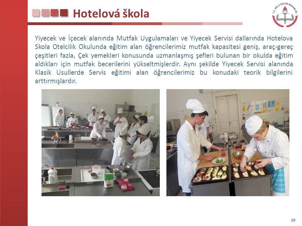 Hotelová škola Yiyecek ve İçecek alanında Mutfak Uygulamaları ve Yiyecek Servisi dallarında Hotelova Skola Otelcilik Okulunda eğitim alan öğrencilerim