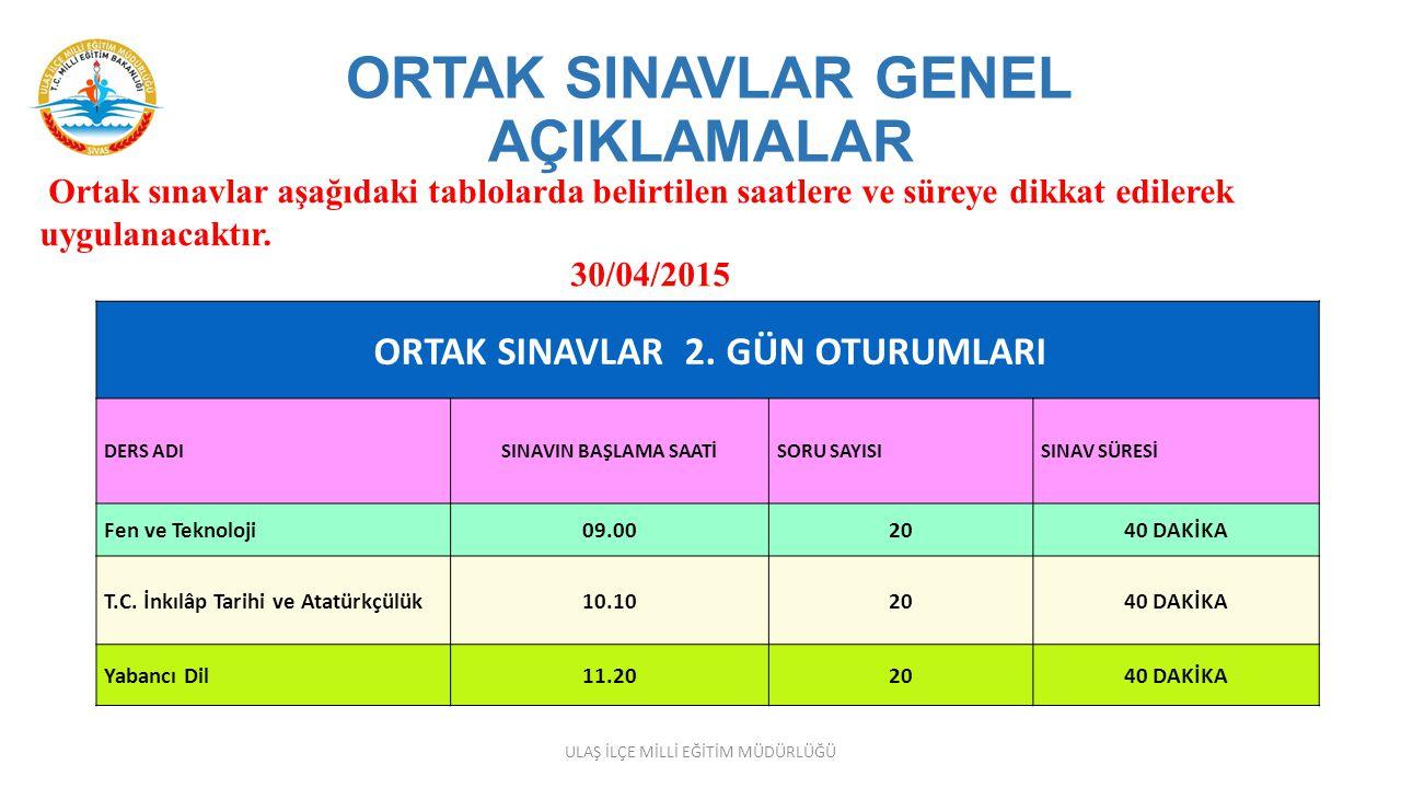 ORTAK SINAVLAR GENEL AÇIKLAMALAR Ortak sınavların gerçekleştirileceği her bir dersin sınavı yurtiçi ve yurtdışı sınav merkezlerinde, Türkiye (Ankara)