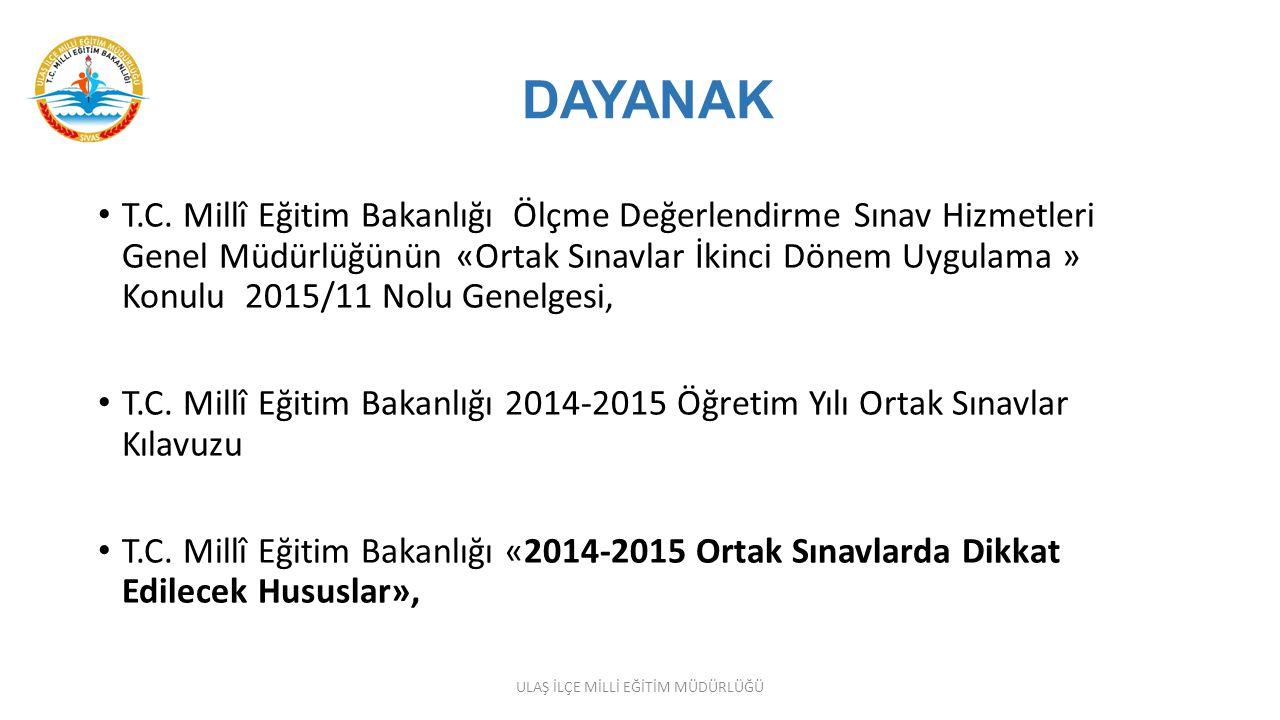ORTAK SINAVLARIN UYGULANMASI Ortak sınavların gerçekleştirileceği her bir dersin sınavı yurtiçi ve yurtdışı sınav merkezlerinde, Türkiye (Ankara) saati ile saat 09.00, 10.10 ve 11.20 de aynı anda başlayacaktır.