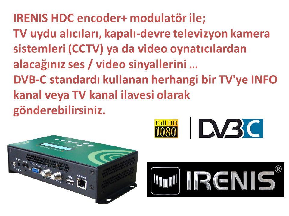 IRENIS HDC encoder+ modulatör ile; TV uydu alıcıları, kapalı-devre televizyon kamera sistemleri (CCTV) ya da video oynatıcılardan alacağınız ses / vid