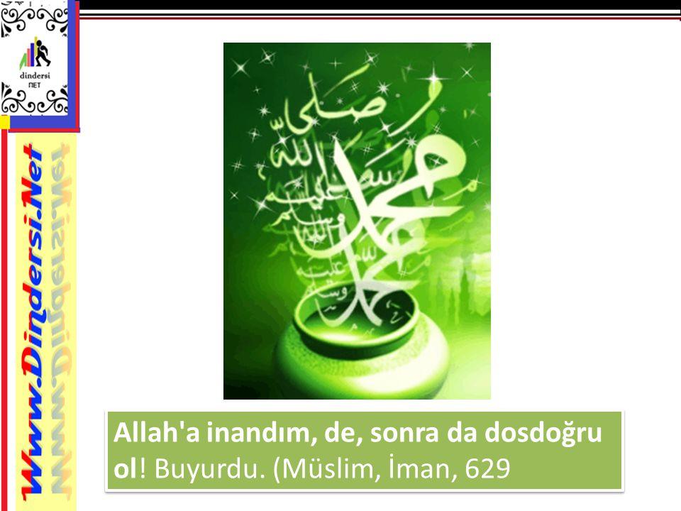 Allah'a inandım, de, sonra da dosdoğru ol! Buyurdu. (Müslim, İman, 629