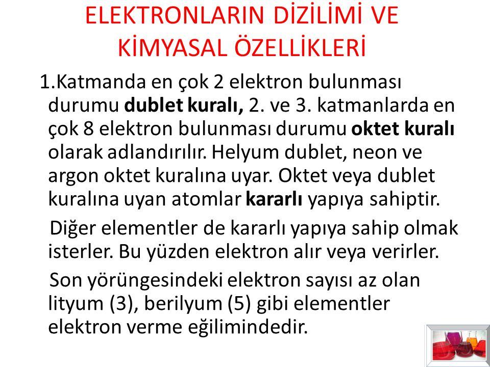 ELEKTRONLARIN DİZİLİMİ VE KİMYASAL ÖZELLİKLERİ 1.Katmanda en çok 2 elektron bulunması durumu dublet kuralı, 2. ve 3. katmanlarda en çok 8 elektron bul