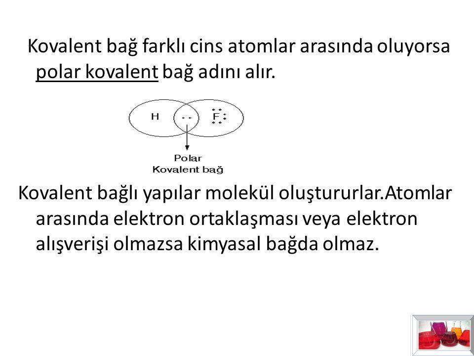 Kovalent bağ farklı cins atomlar arasında oluyorsa polar kovalent bağ adını alır. Kovalent bağlı yapılar molekül oluştururlar.Atomlar arasında elektro
