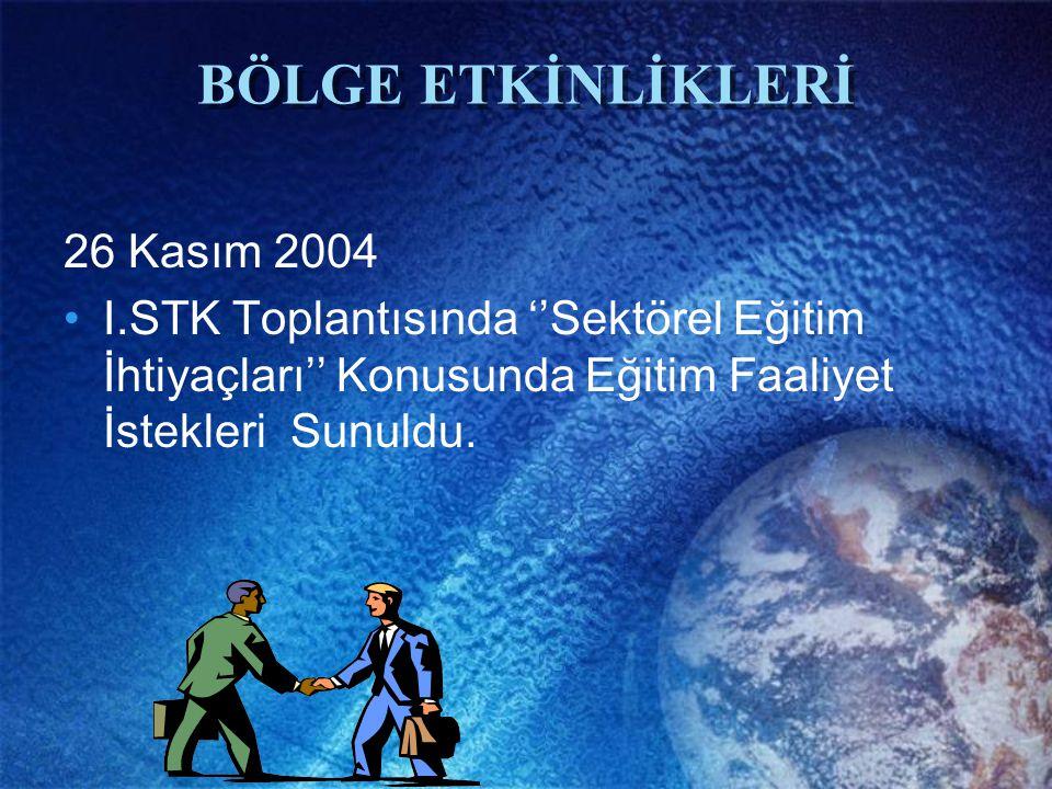 BÖLGE ETKİNLİKLERİ 26 Kasım 2004 I.STK Toplantısında ''Sektörel Eğitim İhtiyaçları'' Konusunda Eğitim Faaliyet İstekleri Sunuldu.