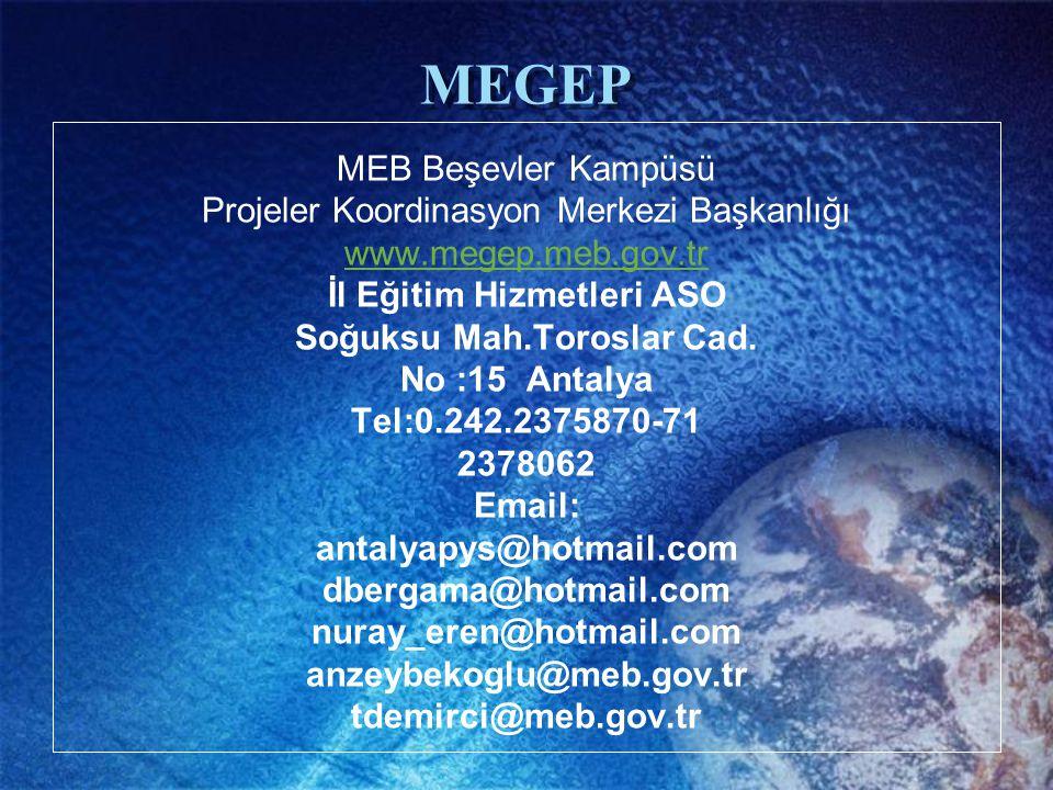 MEB Beşevler Kampüsü Projeler Koordinasyon Merkezi Başkanlığı www.megep.meb.gov.tr İl Eğitim Hizmetleri ASO Soğuksu Mah.Toroslar Cad. No :15 Antalya T
