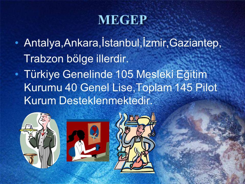 MEGEP Antalya,Ankara,İstanbul,İzmir,Gaziantep, Trabzon bölge illerdir. Türkiye Genelinde 105 Mesleki Eğitim Kurumu 40 Genel Lise,Toplam 145 Pilot Kuru