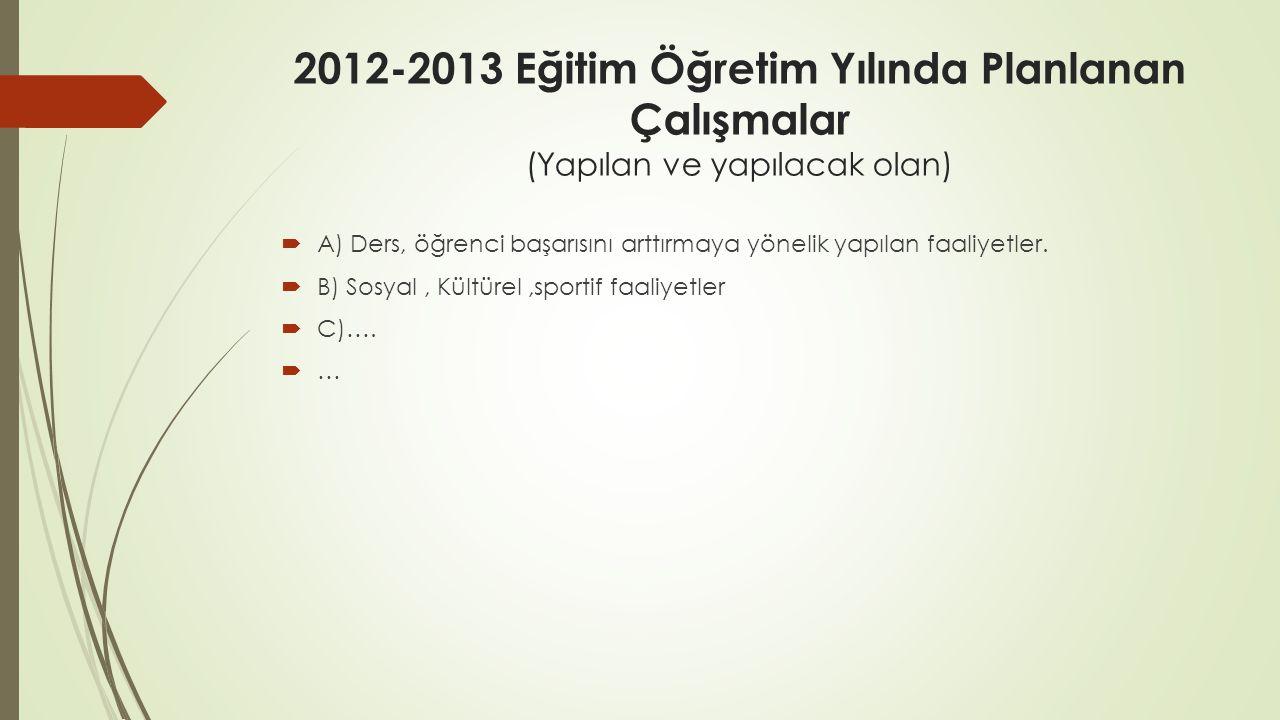 2012-2013 Eğitim Öğretim Yılında Planlanan Çalışmalar (Yapılan ve yapılacak olan)  A) Ders, öğrenci başarısını arttırmaya yönelik yapılan faaliyetler