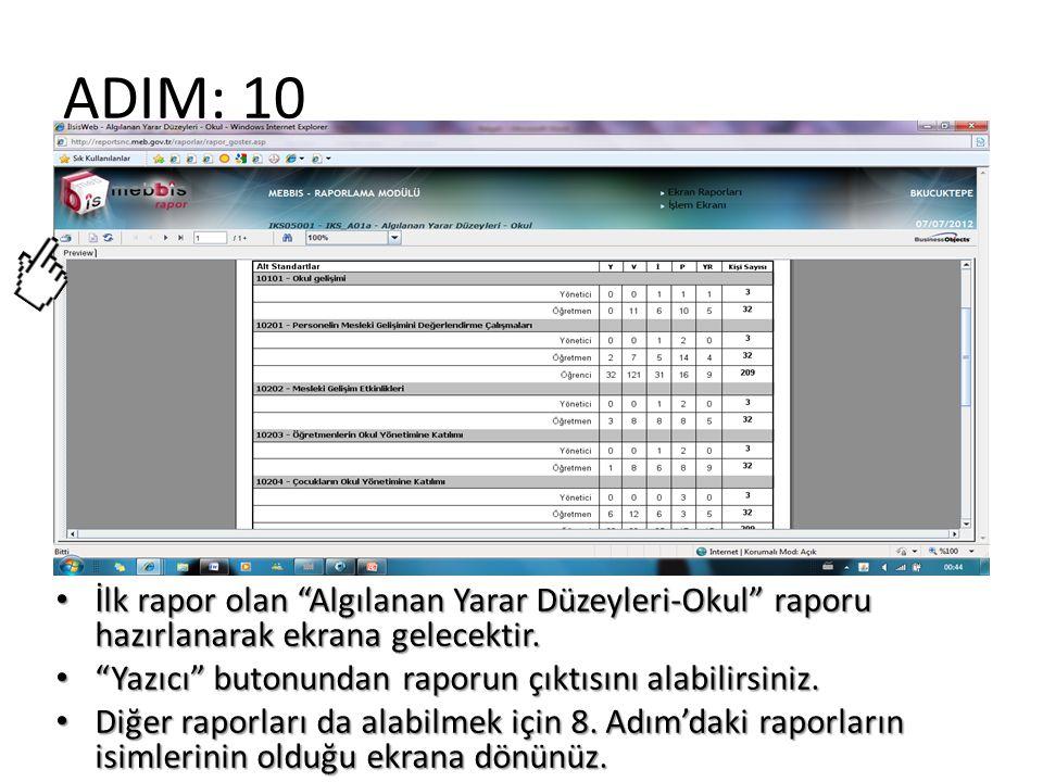 """ADIM: 10 İlk rapor olan """"Algılanan Yarar Düzeyleri-Okul"""" raporu hazırlanarak ekrana gelecektir. İlk rapor olan """"Algılanan Yarar Düzeyleri-Okul"""" raporu"""
