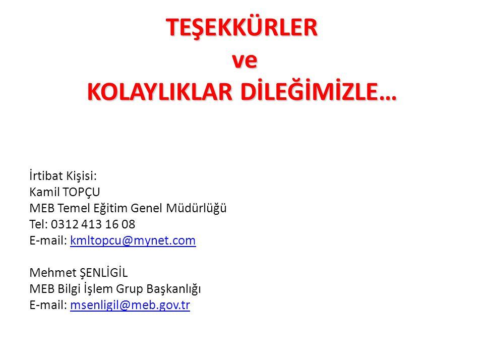 TEŞEKKÜRLER ve ve KOLAYLIKLAR DİLEĞİMİZLE… İrtibat Kişisi: Kamil TOPÇU MEB Temel Eğitim Genel Müdürlüğü Tel: 0312 413 16 08 E-mail: kmltopcu@mynet.com