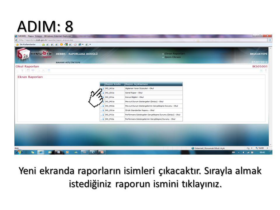 ADIM: 8 Yeni ekranda raporların isimleri çıkacaktır. Sırayla almak istediğiniz raporun ismini tıklayınız.