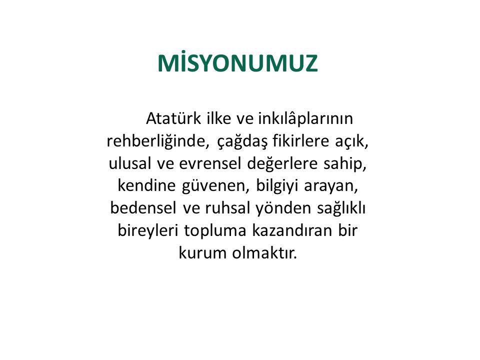 MİSYONUMUZ Atatürk ilke ve inkılâplarının rehberliğinde, çağdaş fikirlere açık, ulusal ve evrensel değerlere sahip, kendine güvenen, bilgiyi arayan, bedensel ve ruhsal yönden sağlıklı bireyleri topluma kazandıran bir kurum olmaktır.