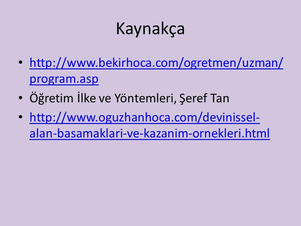 Kaynakça http://www.bekirhoca.com/ogretmen/uzman/ program.asp http://www.bekirhoca.com/ogretmen/uzman/ program.asp Öğretim İlke ve Yöntemleri, Şeref T