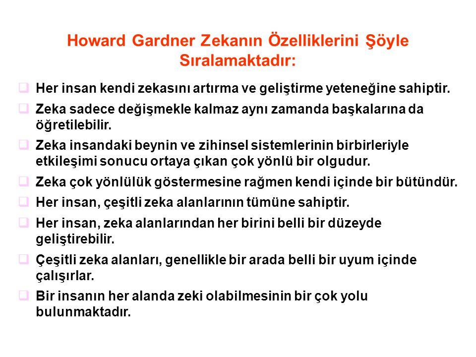 Howard Gardner Zekanın Özelliklerini Şöyle Sıralamaktadır:  Her insan kendi zekasını artırma ve geliştirme yeteneğine sahiptir.  Zeka sadece değişme