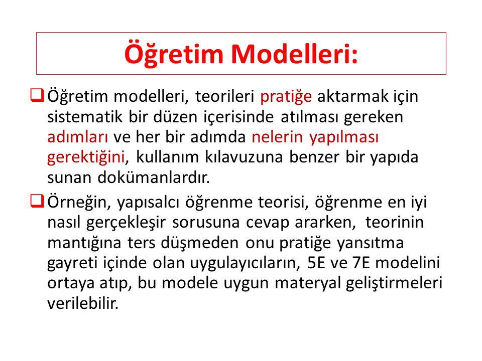 Öğretim Modelleri:  Öğretim modelleri, teorileri pratiğe aktarmak için sistematik bir düzen içerisinde atılması gereken adımları ve her bir adımda ne