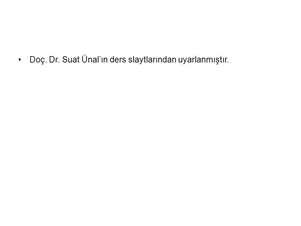 Doç. Dr. Suat Ünal'ın ders slaytlarından uyarlanmıştır.
