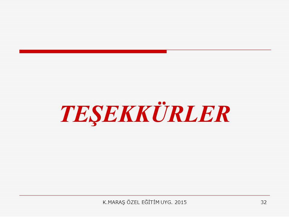 TEŞEKKÜRLER K.MARAŞ ÖZEL EĞİTİM UYG. 201532