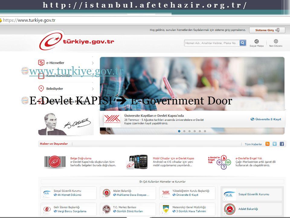 http://istanbul.afetehazir.org.tr/ www.turkiye.gov.tr E-Devlet KAPISI  E-Government Door