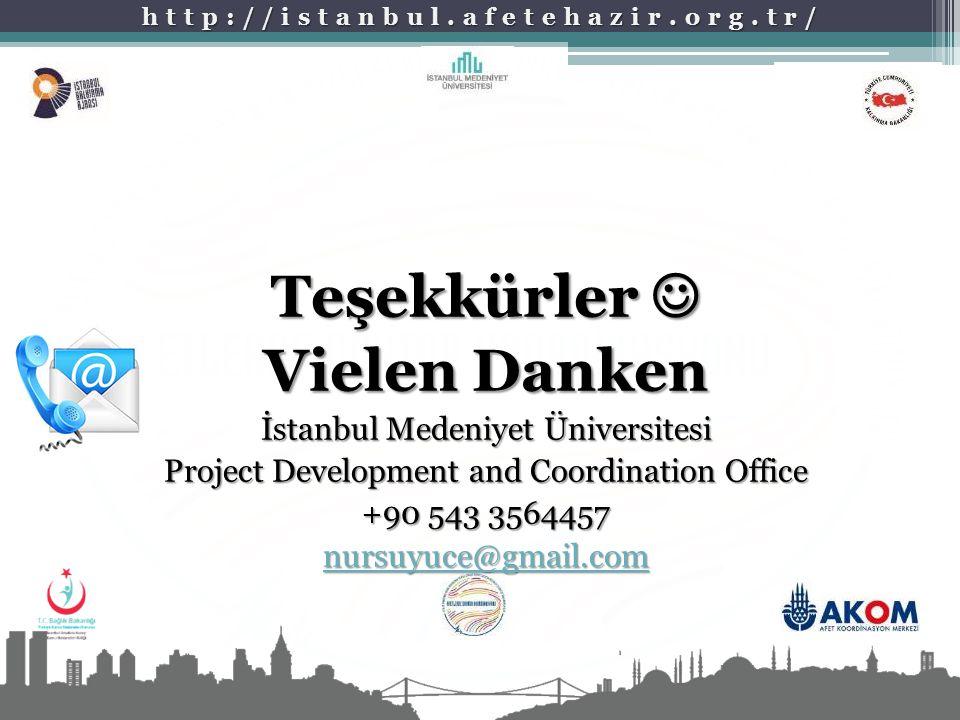 http://istanbul.afetehazir.org.tr/ Teşekkürler Teşekkürler Vielen Danken İstanbul Medeniyet Üniversitesi Project Development and Coordination Office +90 543 3564457 nursuyuce@gmail.com