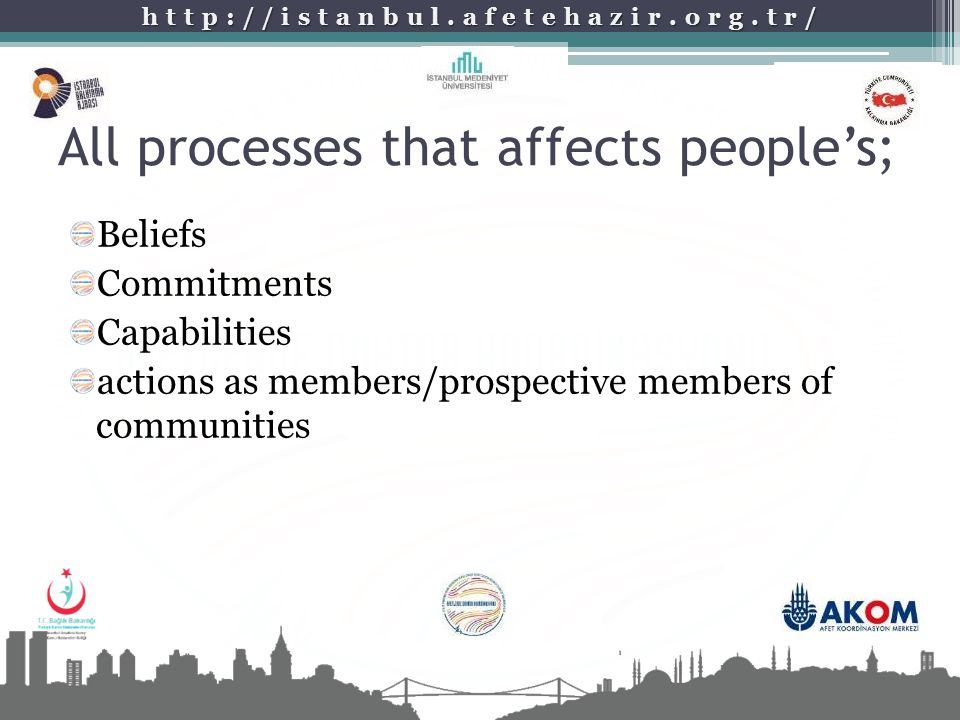 http://istanbul.afetehazir.org.tr/ All processes that affects people's; Beliefs Commitments Capabilities actions as members/prospective members of com