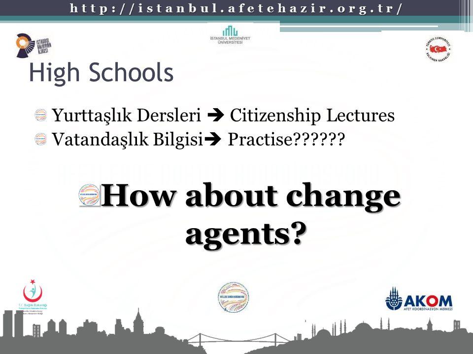 http://istanbul.afetehazir.org.tr/ High Schools Yurttaşlık Dersleri  Citizenship Lectures Vatandaşlık Bilgisi  Practise?????? How about change agent