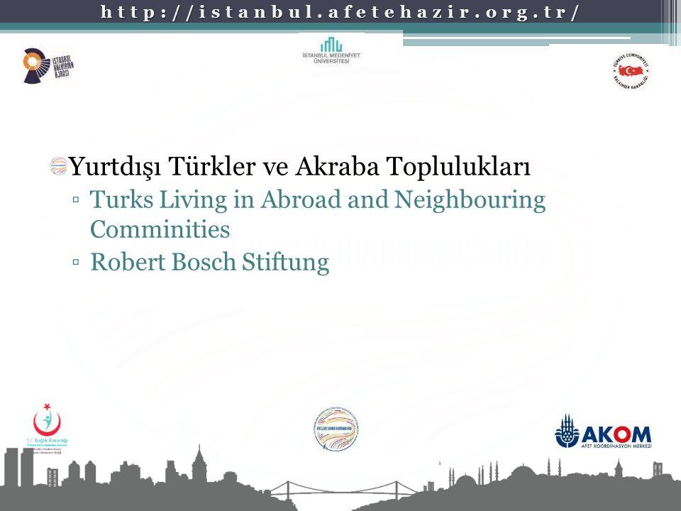 http://istanbul.afetehazir.org.tr/ Yurtdışı Türkler ve Akraba Toplulukları ▫Turks Living in Abroad and Neighbouring Comminities ▫Robert Bosch Stiftung