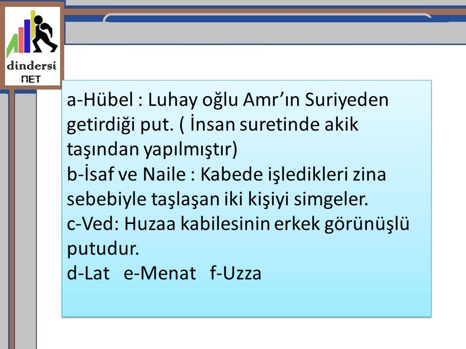 a-Hübel : Luhay oğlu Amr'ın Suriyeden getirdiği put.