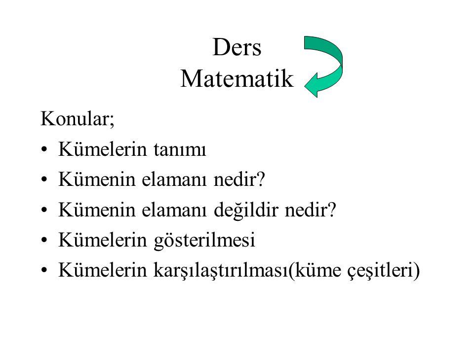 Ders Matematik Konular; Kümelerin tanımı Kümenin elamanı nedir? Kümenin elamanı değildir nedir? Kümelerin gösterilmesi Kümelerin karşılaştırılması(küm
