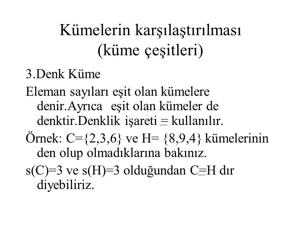 Kümelerin karşılaştırılması (küme çeşitleri) 3.Denk Küme Eleman sayıları eşit olan kümelere denir.Ayrıca eşit olan kümeler de denktir.Denklik işareti
