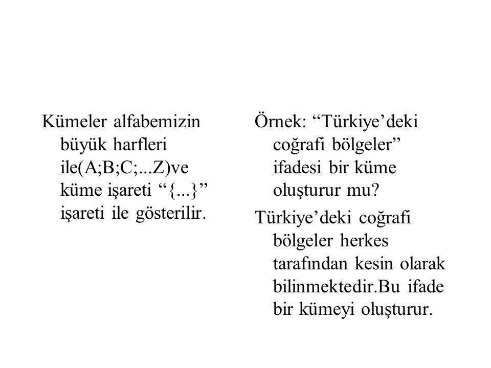 """Kümeler alfabemizin büyük harfleri ile(A;B;C;...Z)ve küme işareti """"{...}"""" işareti ile gösterilir. Örnek: """"Türkiye'deki coğrafi bölgeler"""" ifadesi bir k"""