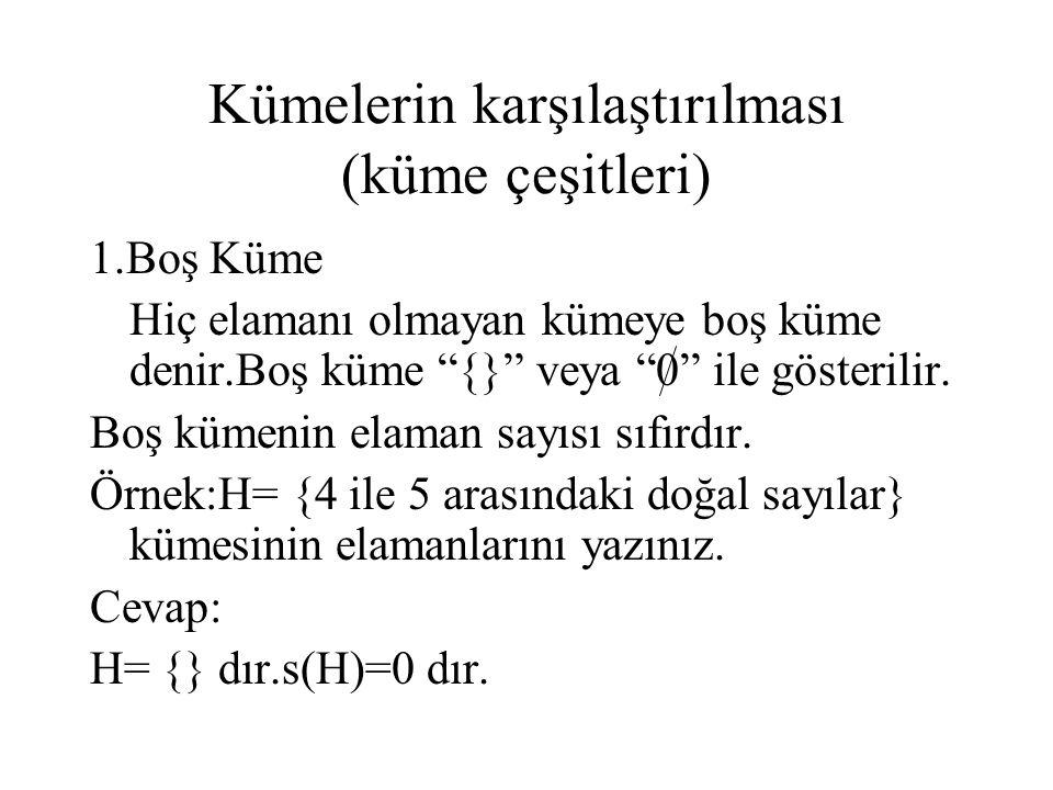 """Kümelerin karşılaştırılması (küme çeşitleri) 1.Boş Küme Hiç elamanı olmayan kümeye boş küme denir.Boş küme """"{}"""" veya """"0"""" ile gösterilir. Boş kümenin e"""