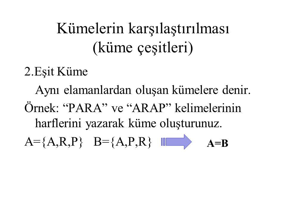"""Kümelerin karşılaştırılması (küme çeşitleri) 2.Eşit Küme Aynı elamanlardan oluşan kümelere denir. Örnek: """"PARA"""" ve """"ARAP"""" kelimelerinin harflerini yaz"""
