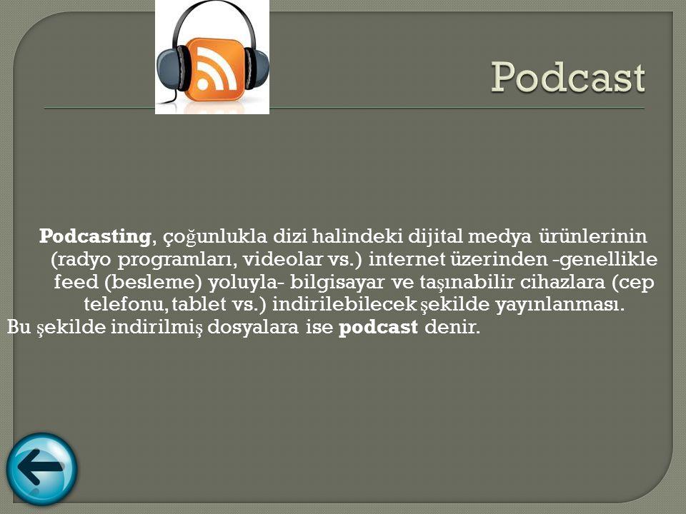 Podcasting, ço ğ unlukla dizi halindeki dijital medya ürünlerinin (radyo programları, videolar vs.) internet üzerinden -genellikle feed (besleme) yoluyla- bilgisayar ve ta ş ınabilir cihazlara (cep telefonu, tablet vs.) indirilebilecek ş ekilde yayınlanması.