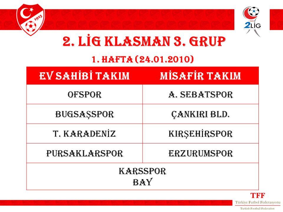 2. L İ G KLASMAN 3. GRUP 1. HAFTA (24.01.2010) EV SAH İ B İ TAKIMM İ SAF İ R TAKIM OFSPORA.