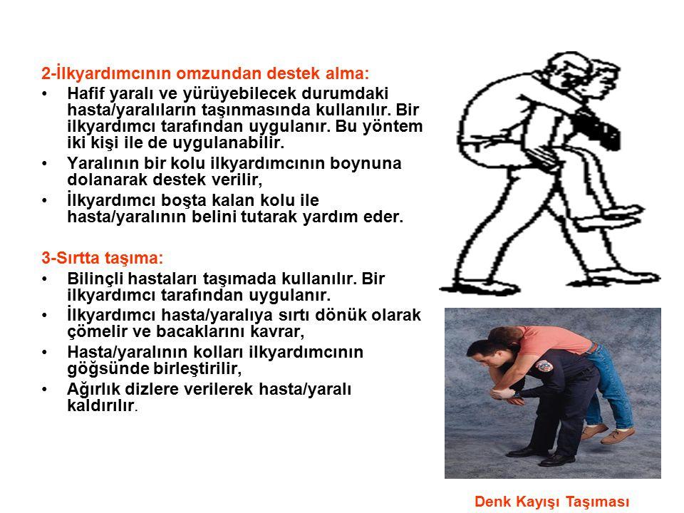2-İlkyardımcının omzundan destek alma: Hafif yaralı ve yürüyebilecek durumdaki hasta/yaralıların taşınmasında kullanılır. Bir ilkyardımcı tarafından u