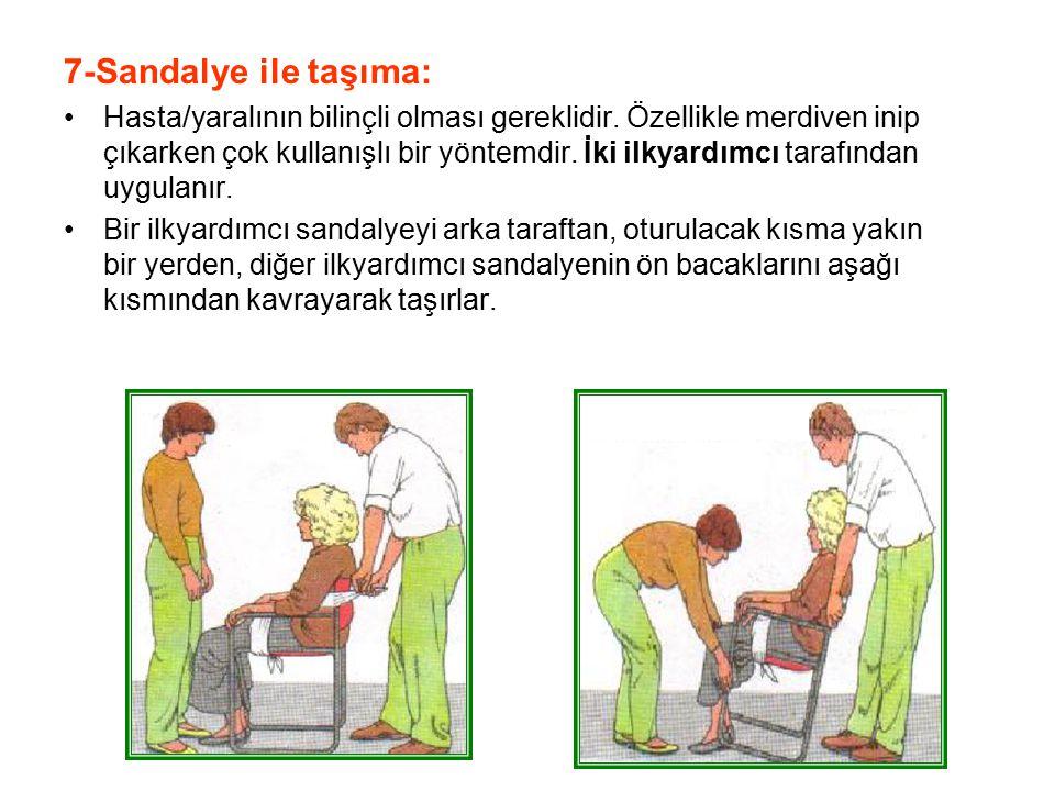 7-Sandalye ile taşıma: Hasta/yaralının bilinçli olması gereklidir. Özellikle merdiven inip çıkarken çok kullanışlı bir yöntemdir. İki ilkyardımcı tara