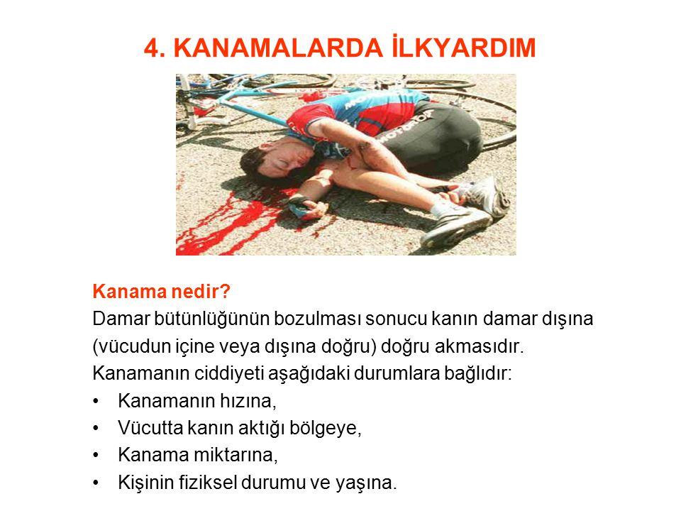 4. KANAMALARDA İLKYARDIM Kanama nedir? Damar bütünlüğünün bozulması sonucu kanın damar dışına (vücudun içine veya dışına doğru) doğru akmasıdır. Kanam