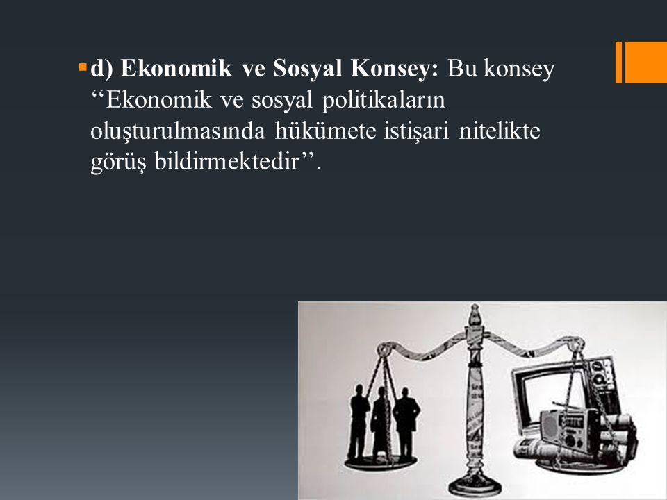  d) Ekonomik ve Sosyal Konsey: Bu konsey ''Ekonomik ve sosyal politikaların oluşturulmasında hükümete istişari nitelikte görüş bildirmektedir''.