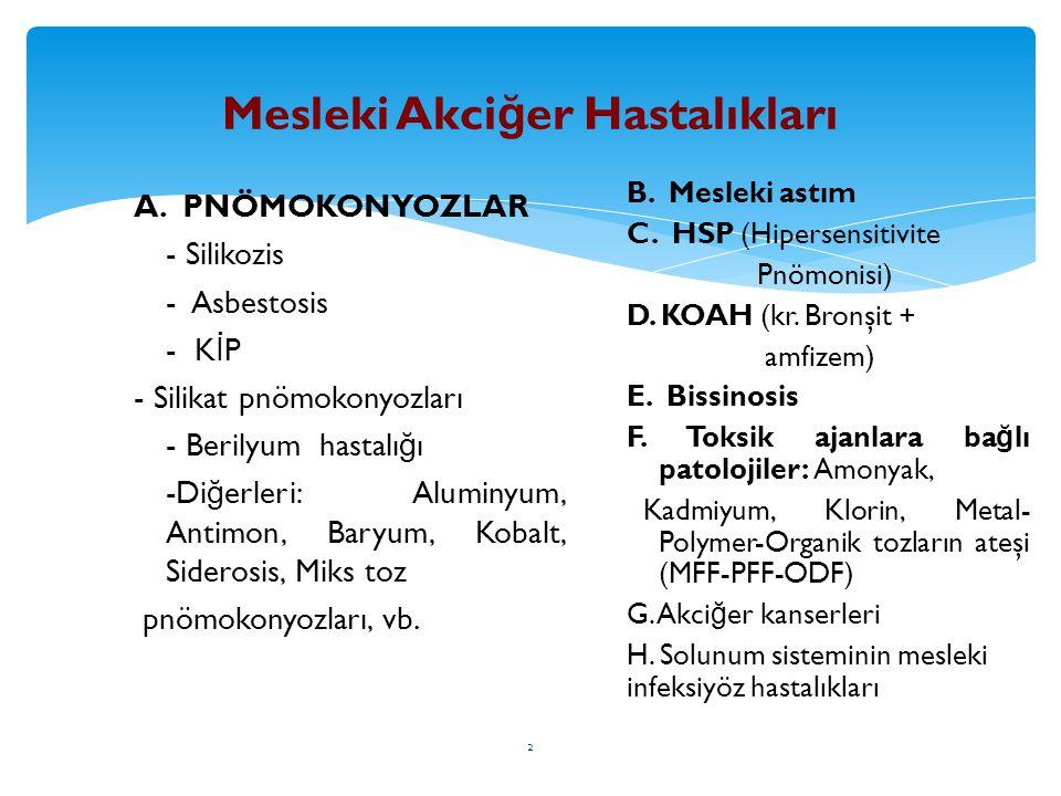 2 Mesleki Akci ğ er Hastalıkları A. PNÖMOKONYOZLAR - Silikozis - Asbestosis - K İ P - Silikat pnömokonyozları - Berilyum hastalı ğ ı -Di ğ erleri: Alu