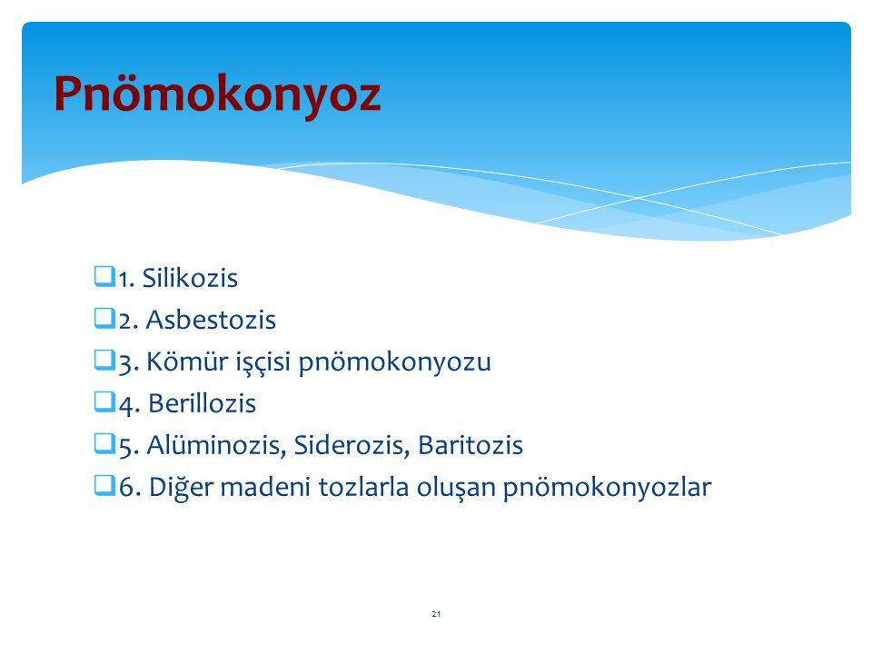  1. Silikozis  2. Asbestozis  3. Kömür işçisi pnömokonyozu  4. Berillozis  5. Alüminozis, Siderozis, Baritozis  6. Diğer madeni tozlarla oluşan