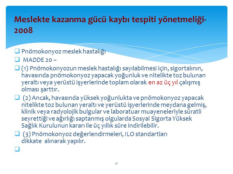  Pnömokonyoz meslek hastalığı  MADDE 20 –  (1) Pnömokonyozun meslek hastalığı sayılabilmesi için, sigortalının, havasında pnömokonyoz yapacak yoğun