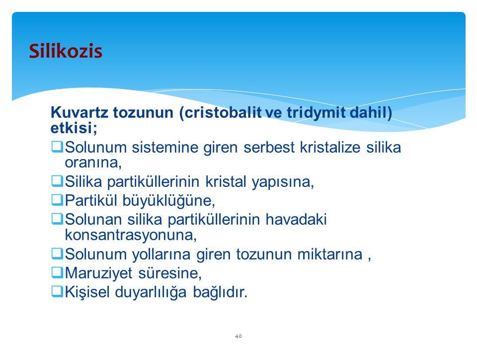 Kuvartz tozunun (cristobalit ve tridymit dahil) etkisi;  Solunum sistemine giren serbest kristalize silika oranına,  Silika partiküllerinin kristal