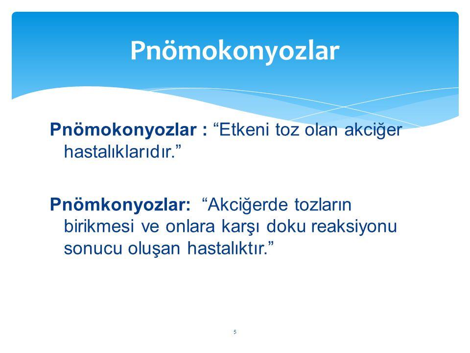 """Pnömokonyozlar : """"Etkeni toz olan akciğer hastalıklarıdır."""" Pnömkonyozlar: """"Akciğerde tozların birikmesi ve onlara karşı doku reaksiyonu sonucu oluşan"""