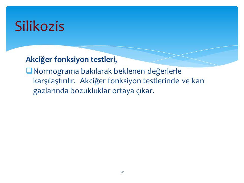 Akciğer fonksiyon testleri,  Normograma bakılarak beklenen değerlerle karşılaştırılır. Akciğer fonksiyon testlerinde ve kan gazlarında bozukluklar or